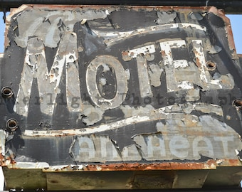 Abandoned Vintage Sign for motel, Urban Decay, Rustic Photograph, rustic home decor, photograph,