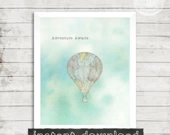 ADEVENTURE PRINTABLE, Adventure Awaits, Nursery,  Hot Air Balloon, Vintage Print, Adventure, Sign, Digital Download, Clouds,Map, Travel