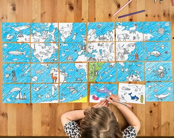 Colour-in Card Book – World Map (OD02)  (card, size A5) by award winning Eggnogg Colour-in