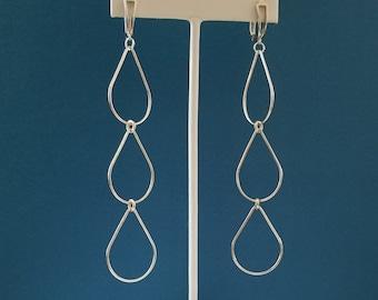 Sterling Silver Rain Chain Dangle Earrings