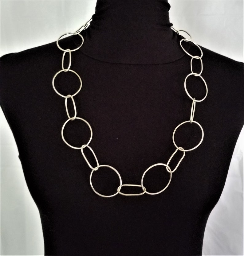 Giant Link Chain Necklace  Sterling Silver image 0