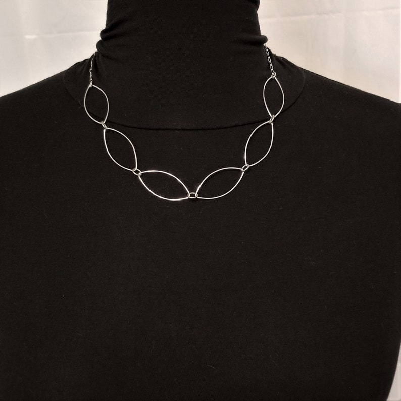 Delicate Sterling Silver Leaf Link Chain Necklace image 0