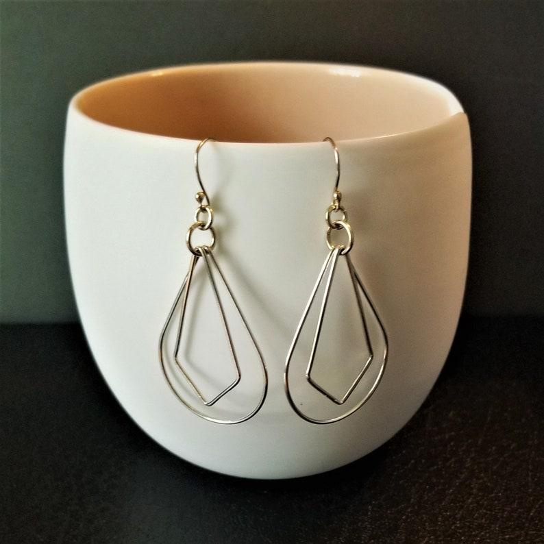 Sterling Silver Diamond Teardrop Dangle Earrings image 0