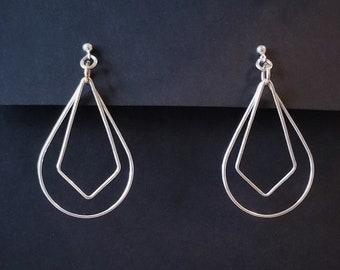 Sterling Silver Teardrop and Diamond Dangle Earrings