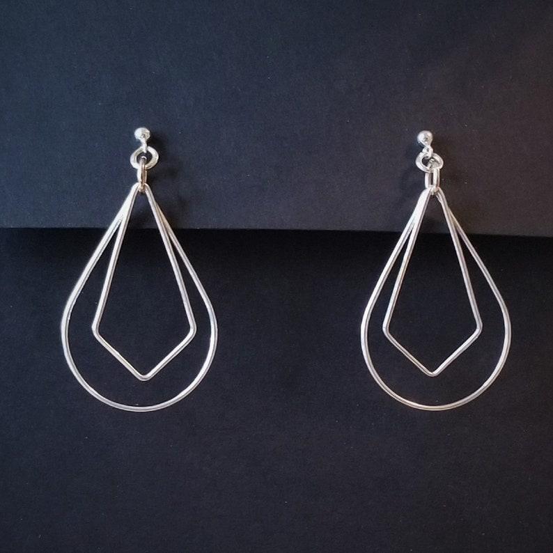 Sterling Silver Teardrop and Diamond Dangle Earrings image 0