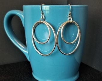Big Double Hoop Dangle Earrings - Sterling Silver
