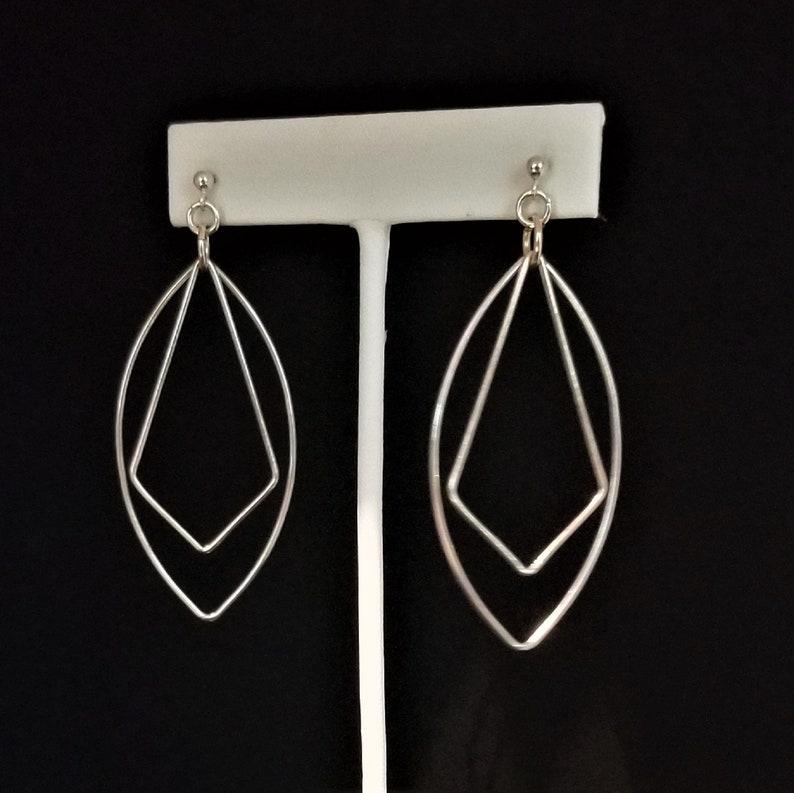 Sterling Silver Diamond Oval Drop Earrings image 0