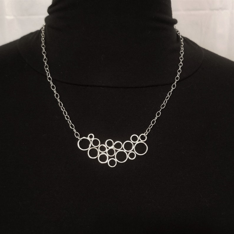Sterling Silver Hammered Circles Bubble Necklace image 0