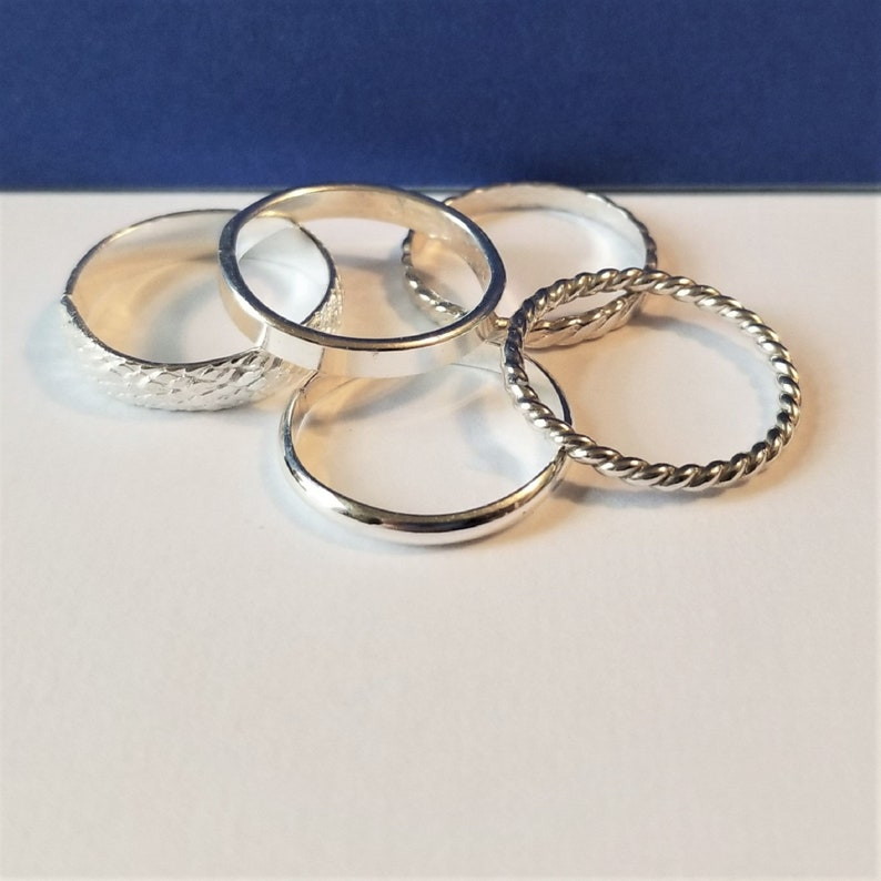 Sterling Silver Hand Forged Stacking Rings image 0