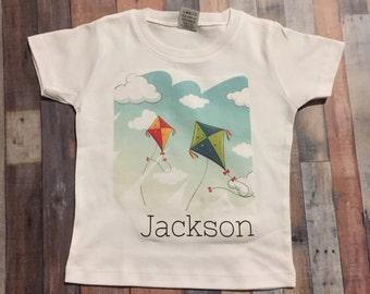 Custom Kite flying fun toddler shirt, kite shirt infant, boy or girl kite shirt, personalized kite shirt, summer kite shirt for kids