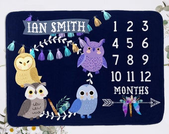 Blue Milestone Blanket With Owls - Owl Baby Boy Monthly Growth Personalized Newborn Gift - Custom Baby Shower Gift - Months Baby Blanket