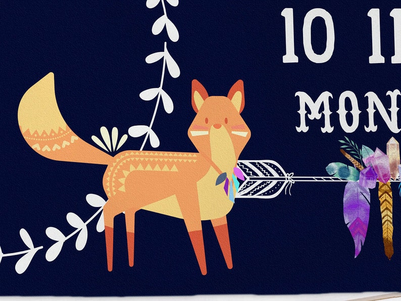 Ethnic Milestone Blanket Monthly Growth Fox Photo Prop Personalized Newborn Shower Gift Tribal Boho Baby Boy Blue Blanket With Months