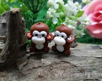 5 Mini monkey  Miniature Dollhouse Fairy Garden /Set