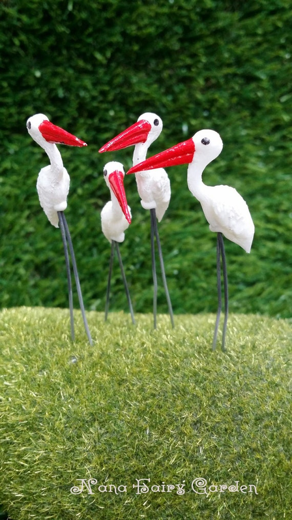 Miniature Dollhouse Fairy Garden Accessories 20 Tiny Egret Bird Pick