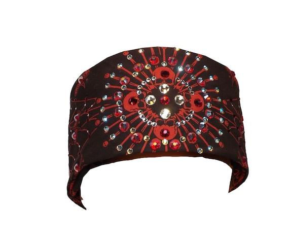 Admirable Swarovski Crystal Headband Bandana Bling Gift Idea Black And Red Biker Bling Skull Bones Spyder Alphanode Cool Chair Designs And Ideas Alphanodeonline