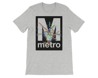5b8adb5384e9 DC Metro Map Logo Shirt - Transit - Subway - Washington - Virginia -  Maryland - Transportation - Unique Geography