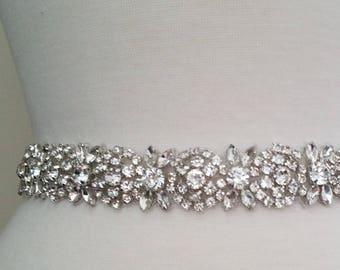 Wedding Belt, Bridal Sash Belt -SILVER Crystal Wedding Sash Belt