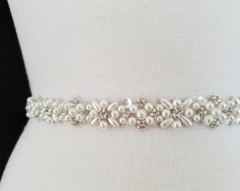 Wedding Belt, Bridal Sash Belt - Pearl Crystal Wedding Sash Belt = 18 1/2 inch long