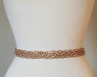 Wedding Belt, Bridal Sash Belt - ROSE GOLD Clear RHINESTONE Wedding Sash Belt