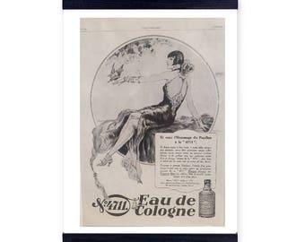 Rare Original Vintage French Advert Eau de Cologne 1928