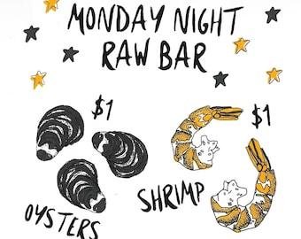 "Monday Night Raw Bar 10""x11"" Screen Print Wall Art"
