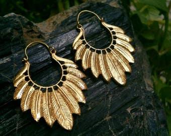 Feathers Hoop Earrings. Boho Earrings. Gypsy Hoop Earrings. Ethnic Earrings. Tribal design. Handmade Jewelry. Festival Jewelry