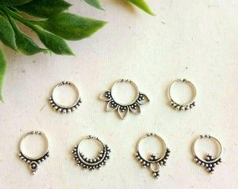 Silver Septum Ring, Fake septum ring, 7 Designs, Fake Septum, Handmade, silver piercing Septum, Cuff, Septum Clip, Tragus, Helix, Cartilage.
