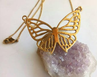 Butterfly Necklace, Brass Necklace, Geometric Necklace, Minimalist Necklace, Brass Chain, Necklace, Boho Necklace, Woman Necklace, Handmade.