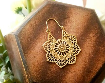 Mandala Hoop Earrings, unique design, Tribal Brass Earrings, Brass Earrings, Boho Earrings. Gypsy Earrings. Ethnic Earrings. Mandala design