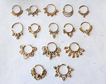 Brass Septum Ring, 15 Designs , Handmade, Real Septum Ring without piercing Septum Cuff, Septum Clip, Tragus, Helix, Cartilage. BR15