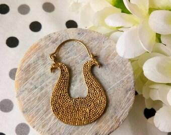 Violin Hoop Earrings. Boho Earrings. Gypsy Hoop Earrings. Ethnic Earrings. Tribal design. Handmade Jewelry. Festival Jewelry