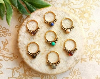 Septum Ring with stone, Real septum, Handmade, Real brass Septum Ring, piercing Septum, Cuff, Septum Clip, Tragus, Helix, Cartilage. GS1