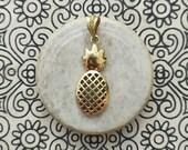 Pineapple brass pendant, handmade pendant Silverfilled, Handmade brass jewelry.