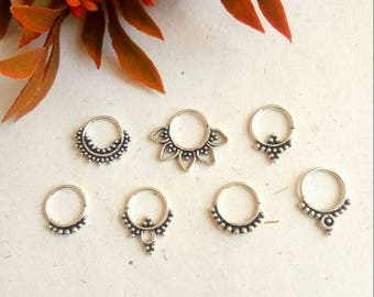 Silver Septum Ring, Real septum ring, 7 Designs, Real Septum, Handmade, silver piercing Septum, Cuff, Septum Clip, Tragus, Helix, Cartilage.