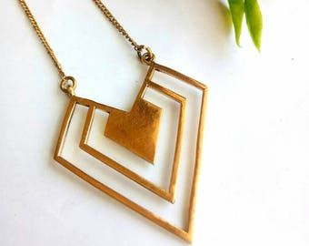 Brass Necklace, Geometric Necklace, Minimalist Necklace, Brass Chain, Necklace, Boho Necklace, triangles Necklace, Woman Necklace, Handmade.