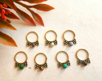 Septum Ring with stone, Real septum, Handmade, Real brass Septum Ring, piercing Septum, Cuff, Septum Clip, Tragus, Helix, Cartilage. GS3