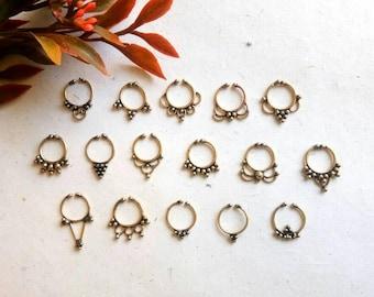 Fake Septum Ring, 16 Designs, brass septum, Handmade, Fake Septum Ring without piercing Septum Cuff, Septum Clip, Tragus, Helix. GN16
