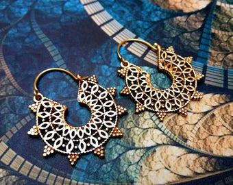 Tribal Brass Earrings. Hoop Earrings. Boho Earrings. Hoop Earring. Ethnic Earrings. Tribal design. Handmade Jewelry. Festival Jewelry. No 1
