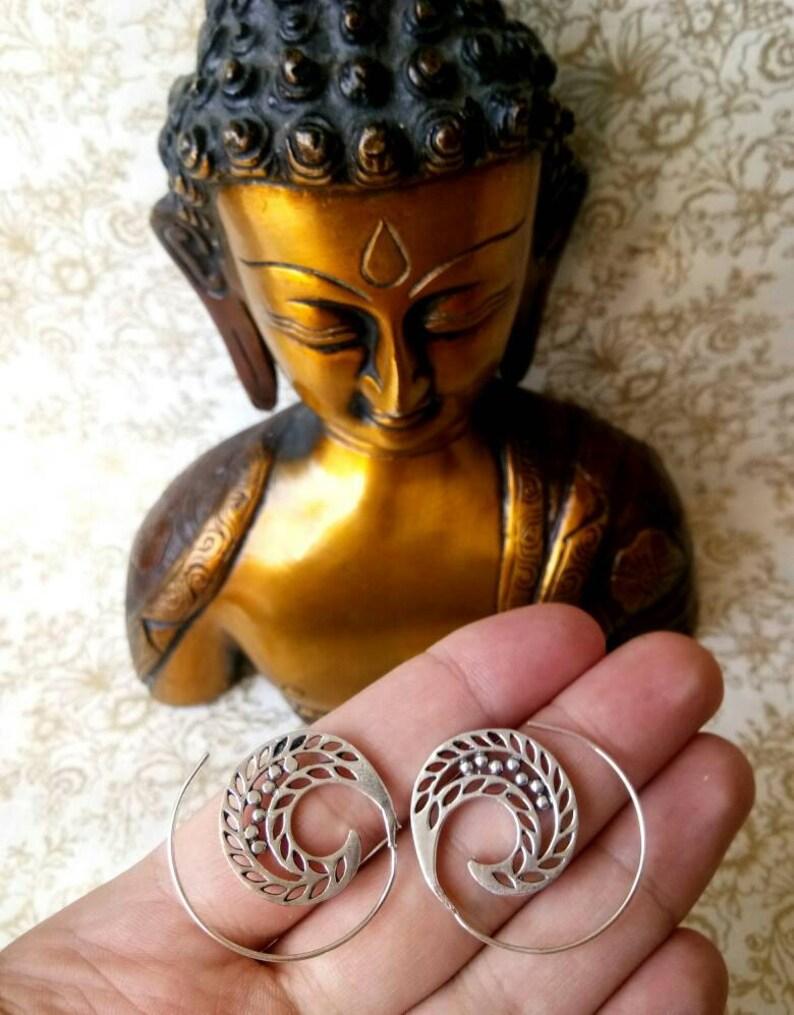 Boho Earrings Festival jewelry hippie Boho chic silver color Ethnic Earrings Gypsy Earrings Tribal Brass Earrings Sprial earrings