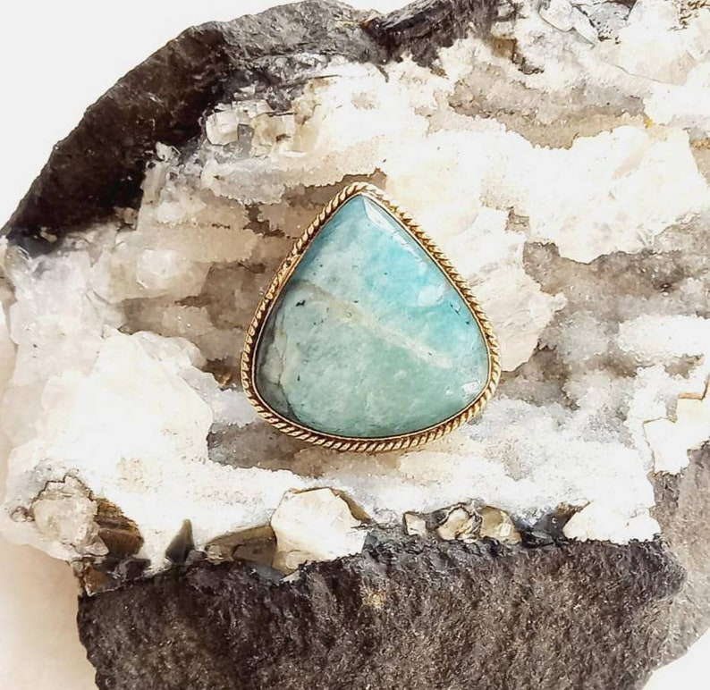 Brass Groove Stone with brass frame for macrame Grooved Amazonite stone macrame stones GS161.8 Natural Amazonite grooved