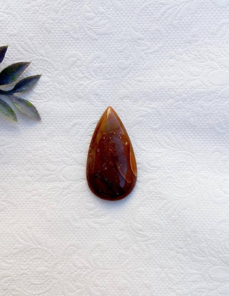 Natural Jasper cabochon stone for jewelry making and macrame jewelry natural jasper drop stone JS209