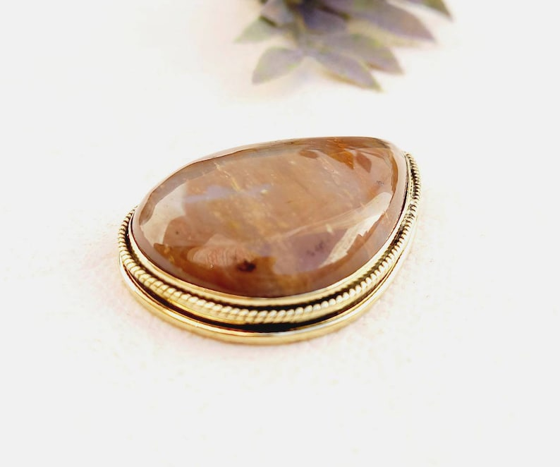 groove stone agate GS155.9 groove cabochon Grooved Agate cabochon Stone with brass frame for micro macrame jewelry
