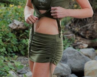 Cinch Skirt in Sage by Lotus Tribe Clothing/Yoga Skirt/Mini Skirt/Booty Skirt/Hippy Skirt/Festival Skirt/Adjustable Fit Skirt/