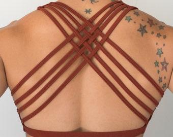 Rust Baru Sports Bra by Lotus Tribe /  Sports Bra/ Gym Bra / Active Wear / Festival Clothes / Boho Top / Strappy Bra / Cotton Bra / Yoga Bra