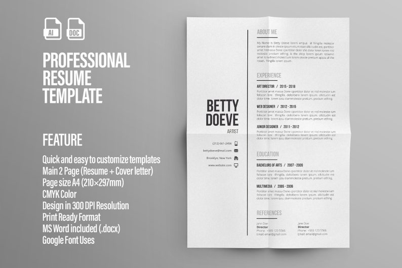Modern Resume Template / CV Template + Cover Letter | Professional and  Creative Resume | Professional CV | Word Resume | Illustrator Resume