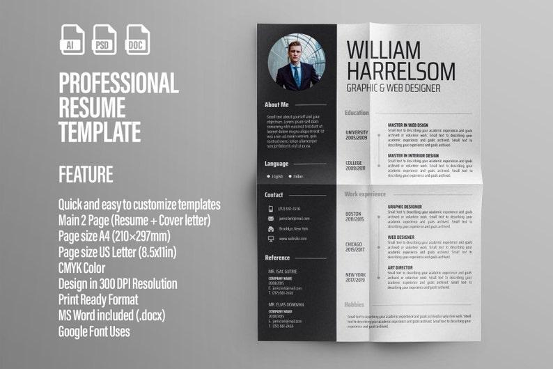 Modern Resume Template / CV Template + Cover Letter | Professional and  Creative Resume | Professional CV | Word Resume | Illustrator Resume