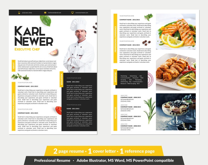 Executive Chef Resume Template Word PowerPoint Illustrator