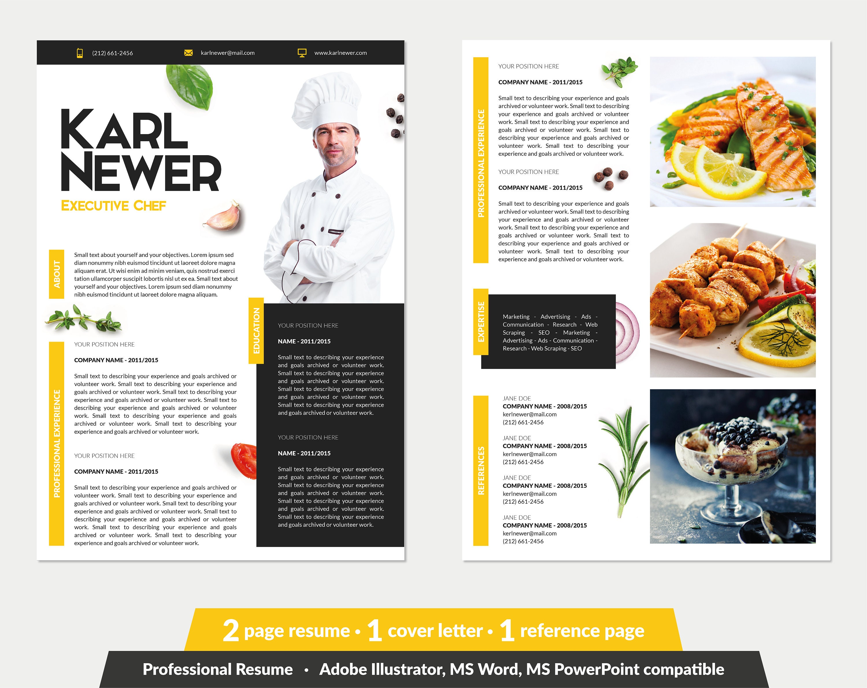 Executive Chef Resume Template Word Powerpoint Illustrator Etsy