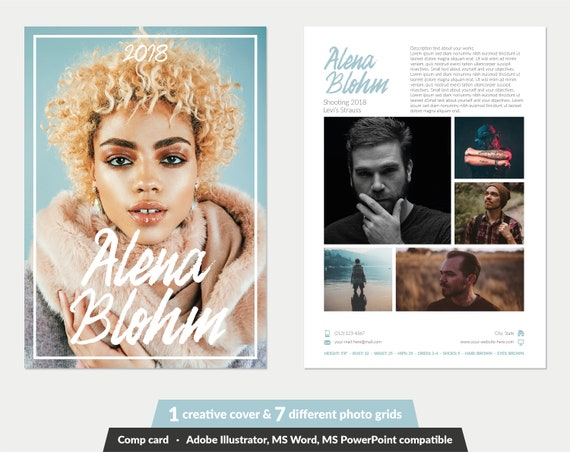 free comp card template.html