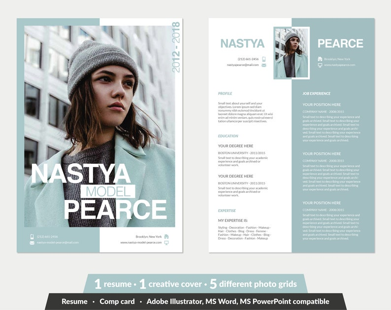 Modeling Comp Card Fashion Model Template 5